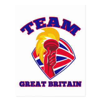 team great britain gb hand hold flaming torch brit postcard