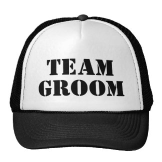 TEAM GROOM black bachelor party trucker hats