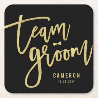 Team Groom Bow Tie Bachelor Party Wedding Custom Square Paper Coaster
