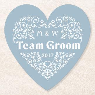 Team Groom custom monograms & year paper coasters