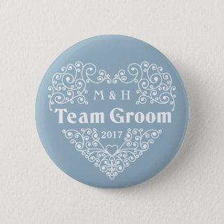 Team Groom custom monograms & year wedding buttons