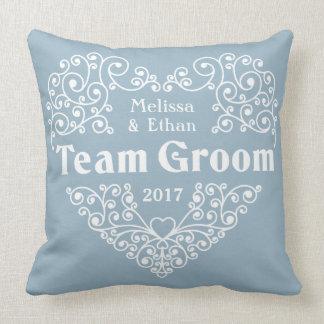 Team Groom custom names & year wedding pillows