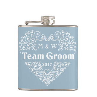 Team Groom custom text flask