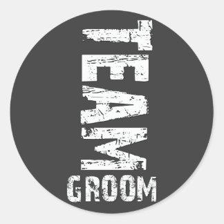 Team Groom Extra Large Grunge Text Round Sticker