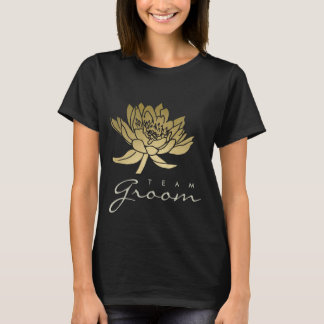 TEAM GROOM GLAMOROUS GOLD  BLACK LOTUS FLORAL T-Shirt