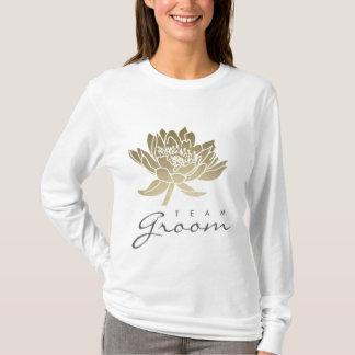 TEAM GROOM GLAMOROUS GOLD WHITE LOTUS FLORAL T-Shirt