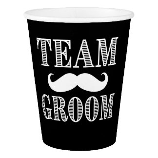 Team Groom Groomsman with mustache paper cups