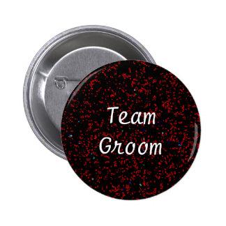 Team Groom Modern Fractal Art Black Red Patterns 2 Inch Round Button
