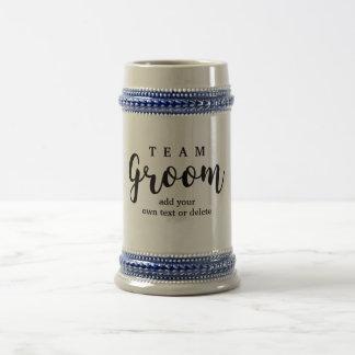 Team Groom Modern Wedding Favors for Groomsmen 18 Oz Beer Stein