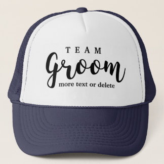 Team Groom Modern Wedding Favors for Groomsmen Trucker Hat
