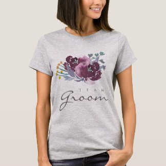 Team Groom PURPLE AQUA WATERCOLOR FLORAL MONOGRAM T-Shirt