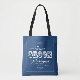 TEAM GROOM Typography Wedding Party Tote (navy)