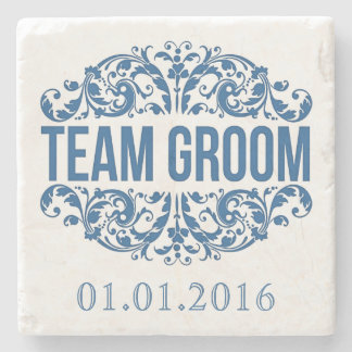 Team Groom wedding stone coasters Save the Date Stone Beverage Coaster