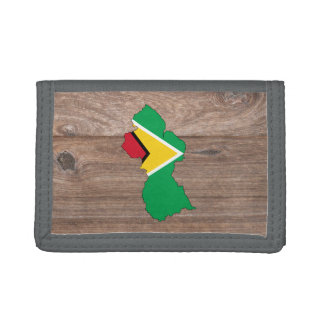 Team guyana Flag Map on Wood Trifold Wallets