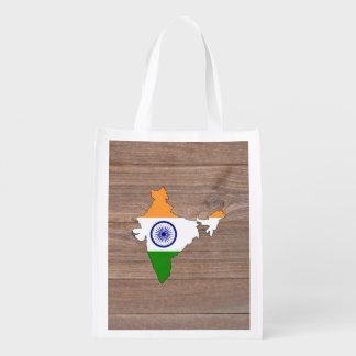 Team india Flag Map on Wood Market Tote