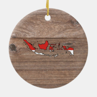 Team indonesia Flag Map on Wood Round Ceramic Ornament