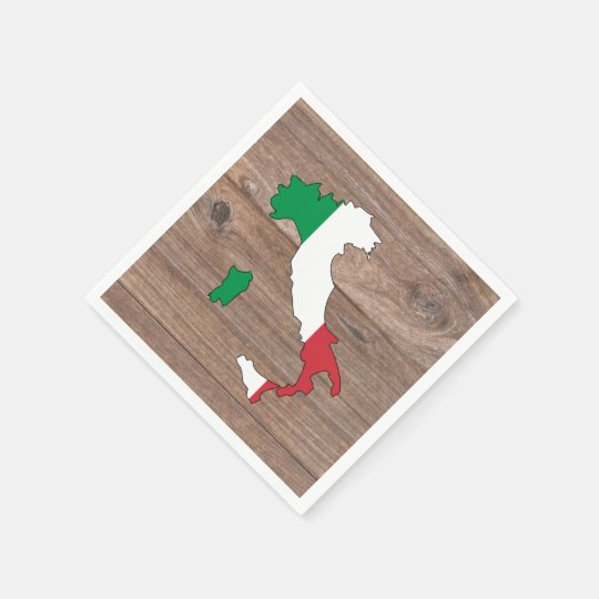 Team italy Flag Map on Wood Paper Napkin