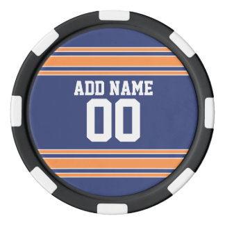 Team Jersey Stripes Custom Name and Number Poker Chips
