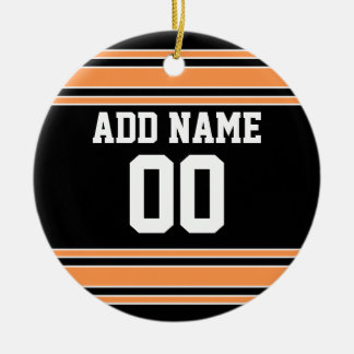 Team Jersey with Custom Name and Number Round Ceramic Ornament