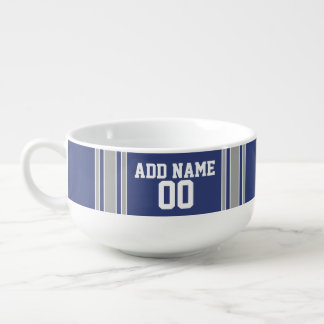 Team Jersey with Custom Name and Number Soup Mug