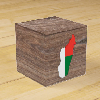 Team madagascar Flag Map on Wood Favor Box