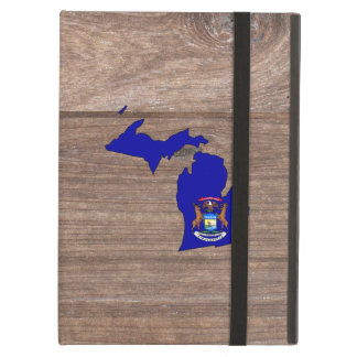 Team Michigan Flag Map on Wood Case For iPad Air