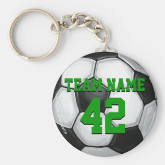 Team Name and Number Soccer Ball Basic Round Button Keychain
