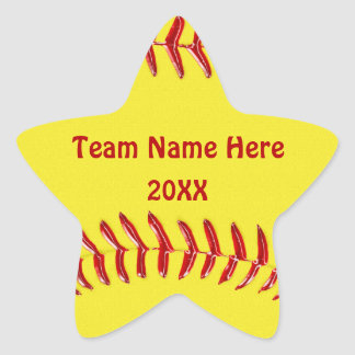 TEAM NAME and YEAR Star Shaped Softball Stickers