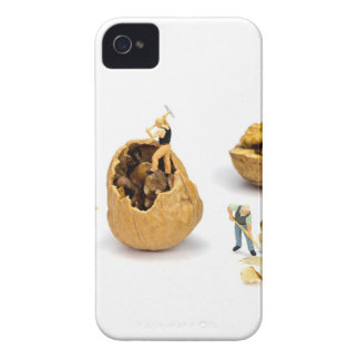 Team of miniature figurines transporting walnut iPhone 4 case