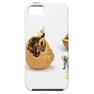 Team of miniature figurines transporting walnut iPhone 5 cases