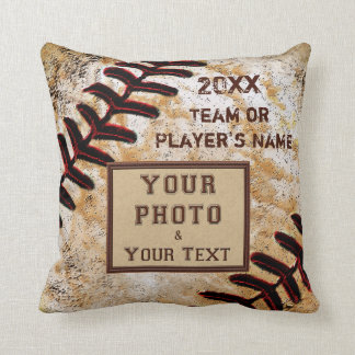 TEAM PHOTO, NAME, YEAR Custom Baseball Team Gifts Throw Pillow