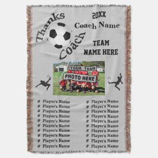 Team Photo, Players Names Great Soccer Coach Gifts Throw Blanket