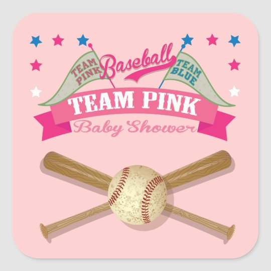 Team Pink Baseball baby shower stickers