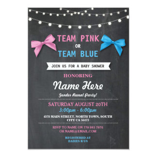 Team Pink or Blue Baby Shower Gender Reveal Invite