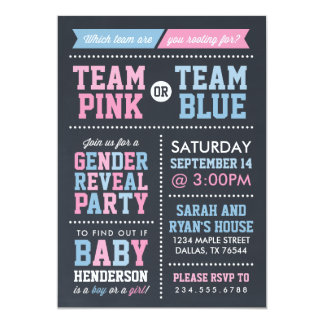 "Team Pink or Team Blue Chalkboard Gender Reveal 5"" X 7"" Invitation Card"