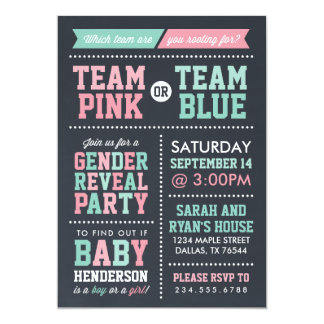 Team Pink or Team Blue Chalkboard Gender Reveal Card