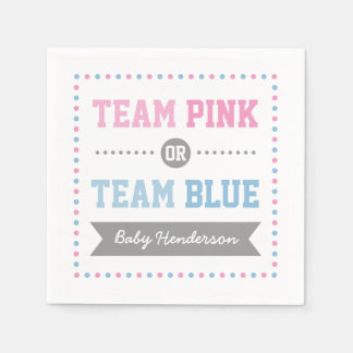 Team Pink or Team Blue Personalized Party Napkins Paper Napkin