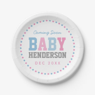 Team Pink or Team Blue Personalized Party Plates 7 Inch Paper Plate