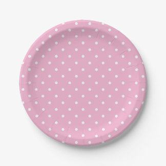 Team Pink Polka Dots 7 Inch Paper Plate