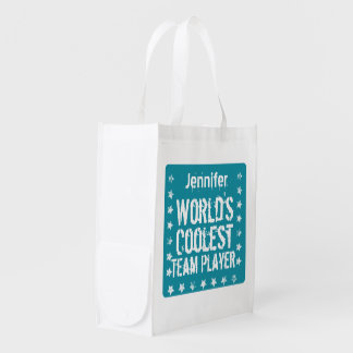 TEAM PLAYER Teal Background Custom Name A02 Market Totes