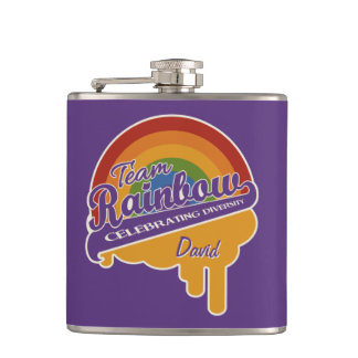 Team Rainbow custom monogram flask