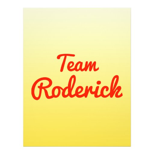 Team Roderick Personalized Flyer