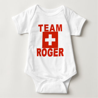 Team Roger with Swiss Flag Baby Bodysuit