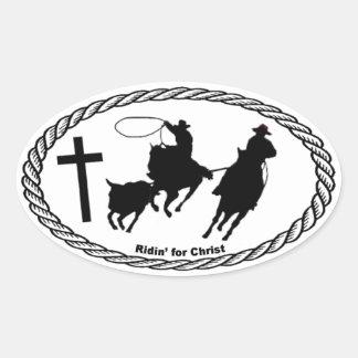 Team Roping Cross Euro Style Oval Sticker