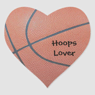Team Spirit_Basketball texture_Hoops Lovers Heart Sticker
