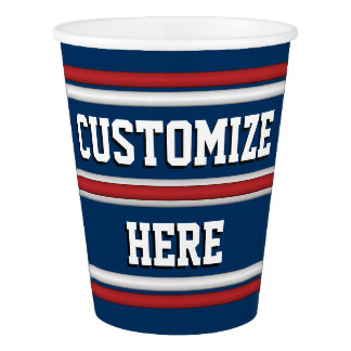 Team Spirit Gear in Red, White, and Blue Paper Cup