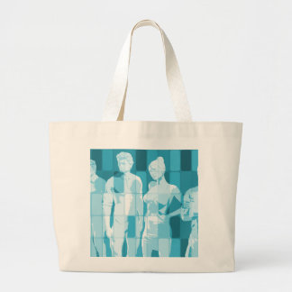 Team Spirit On a Mission in Business Concept Large Tote Bag