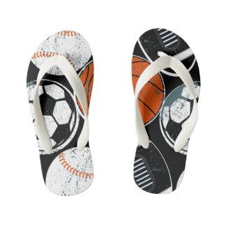 Team sport balls kid's flip flops