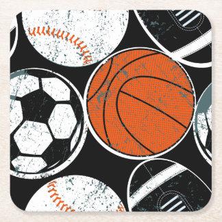 Team sport balls square paper coaster