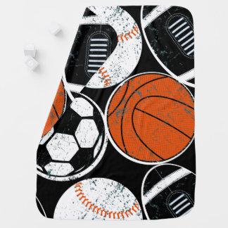 Team sport balls stroller blanket